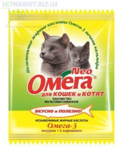 Мультивитаминное лакомство «омега neo» в мини-упаковке для кошек с таурином и l-карнитином длякошек и котят (к-тк)
