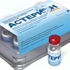 Вакцина против чумы, парвовирусного энтерита, аденовирусных инфекций, парагриппа и лептоспироза собак (астерион dhрpil)